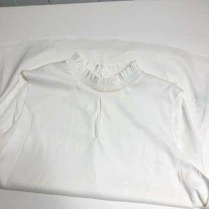 Tahari White Sleeveless Ruffled Collar Blouse